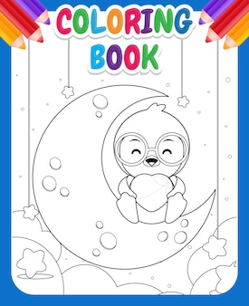 아이들을위한 색칠하기 책. 달에 앉아서 마음을 잡고 만화 행복 한 펭귄