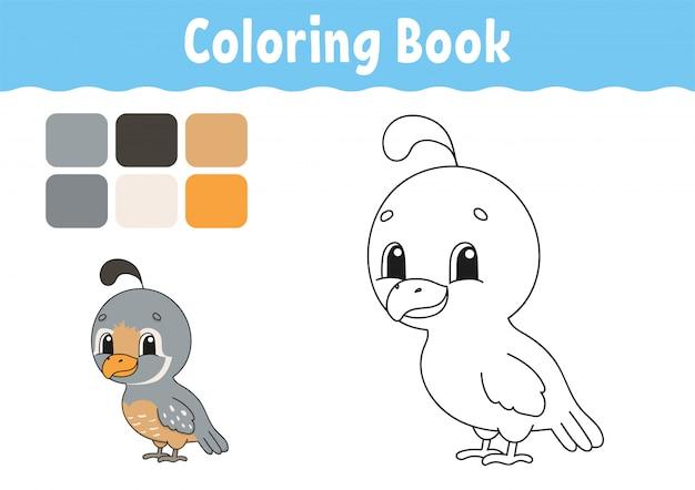 Книжка-раскраска для детей. веселый характер. векторная иллюстрация милый мультяшный стиль фэнтезийная страница для детей.