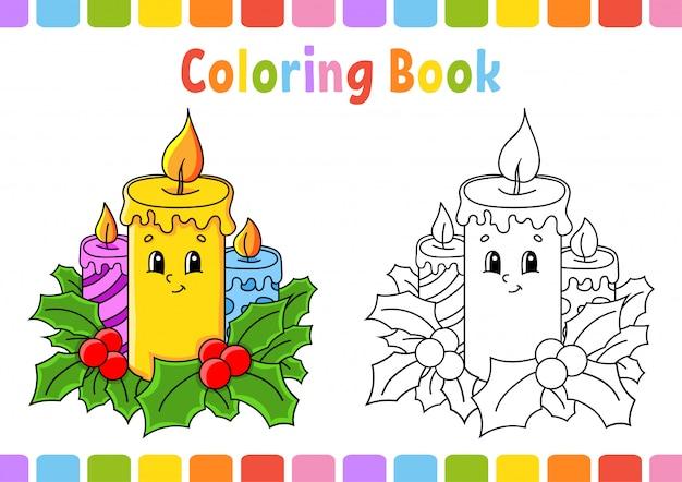 Книжка-раскраска для детей. рождественские свечи. мультипликационный персонаж. векторная иллюстрация