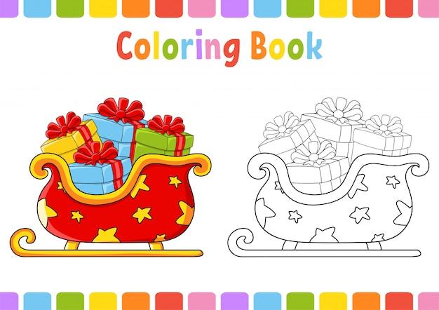 Книжка-раскраска для детей. рождественские сани. мультипликационный персонаж. векторная иллюстрация