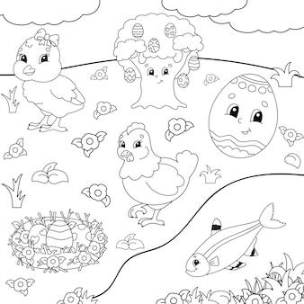 아이들을위한 색칠하기 책. 부활절 클립 아트.
