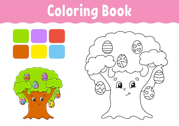 Книжка-раскраска для детей. пасхальное яйцо дерево. веселый характер. милый мультяшный стиль фэнтезийная страница для детей.