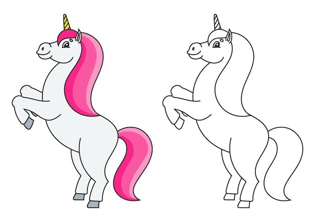 아이들을 위한 색칠하기 책 마법의 유니콘이 길러진 동물의 말은 뒷다리에 서 있습니다