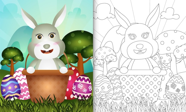 Книжка-раскраска для детей на тему счастливого пасхального дня с милым кроликом в ведре