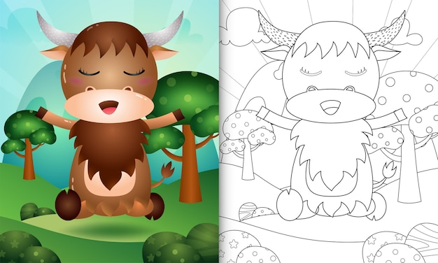 귀여운 버팔로 캐릭터 일러스트와 함께 아이들을위한 색칠하기 책