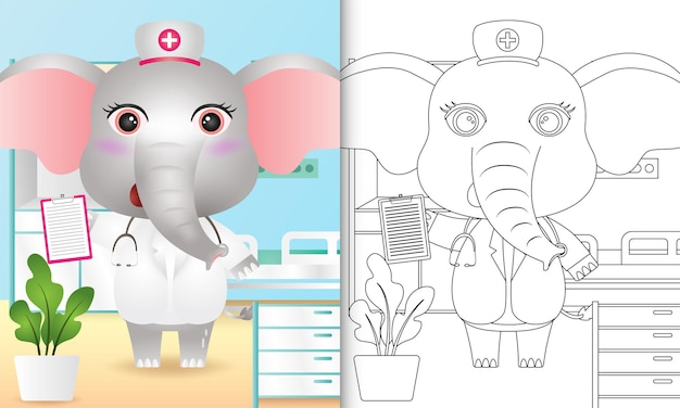 귀여운 코끼리 간호사 캐릭터가있는 아이들을위한 색칠하기 책
