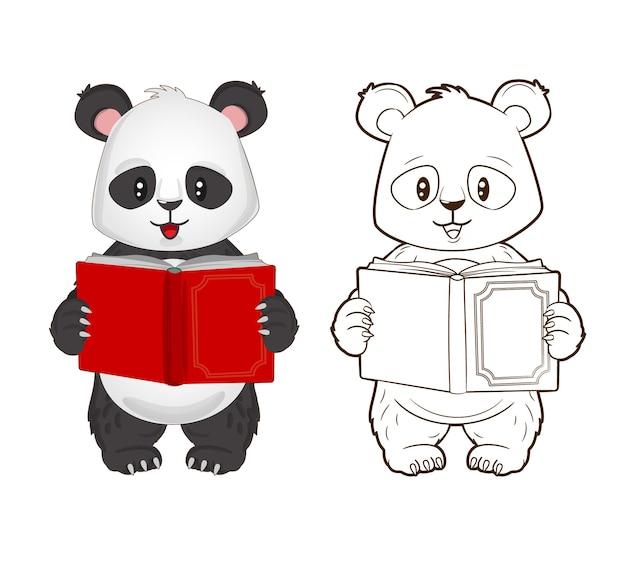 彼の手で本を持っている面白い小さなパンダの塗り絵漫画スタイルのベクトル図