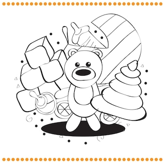 Coloring book - hand drawn toys - vector illustration