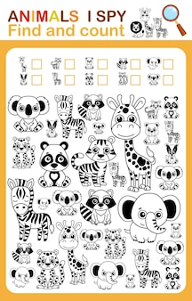 幼稚園と幼稚園のための塗り絵iスパイカウントとカラー動物園の動物の印刷可能なワークシート
