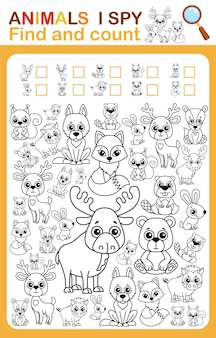 Coloring book i spy count and color wild animal printable worksheet for kindergarten and preschool