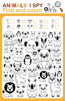 Coloring book i spy count and color zoo animal printable worksheet for kindergarten and preschool