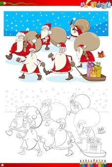 Coloring book illustration of santa characters