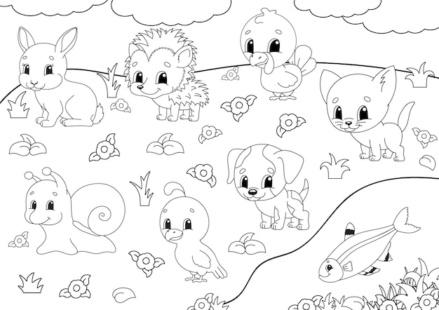 Coloring book for kids. animal clipart.