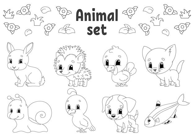 Coloring book for kids animal clipart