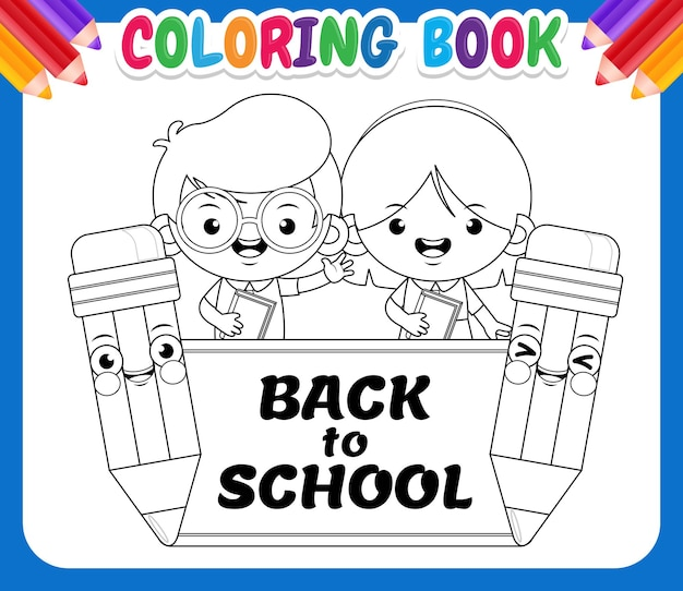 Coloring book for kids. back to school cute student with pencils