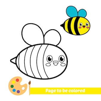 Coloring book for kids bee vector