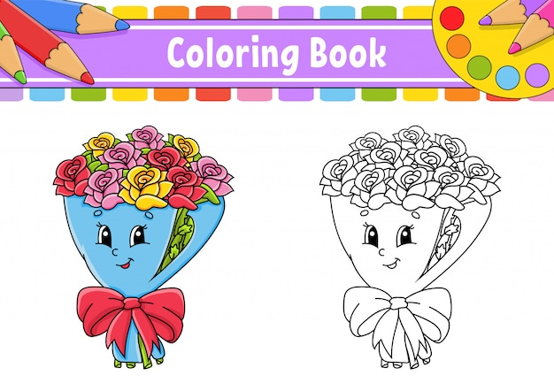 Coloring book for kids. bouquet of flowers roses on wrapping paper with bow.