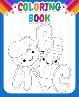 Coloring book for kids. cartoon cute boy holding pencil with alphabet