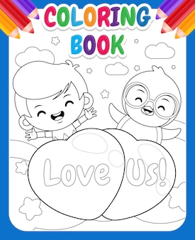 Coloring book for kids cartoon cute boy and penguin flying with love balloon