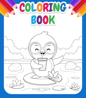 Coloring book for kids. cartoon cute penguin standing on lotus, drink bubble tea or pearl tea