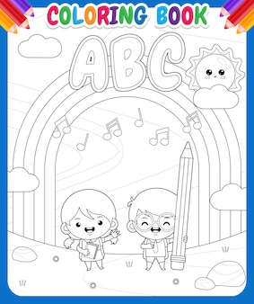 Coloring book for kids. cartoon cute student at outdoor with rainbow