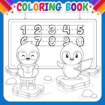 Coloring book for kids. cartoon happy penguin education
