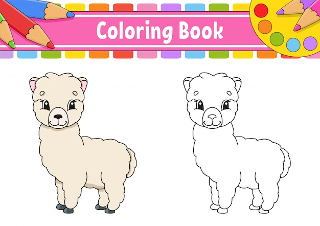 Coloring book for kids. cheerful character. vector color illustration. cute cartoon style. fantasy page for children.