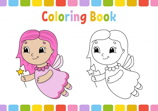 Coloring book for kids. cheerful character.