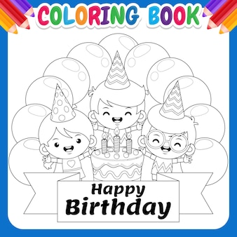 Coloring book for kids. children birthday with colorful balloon