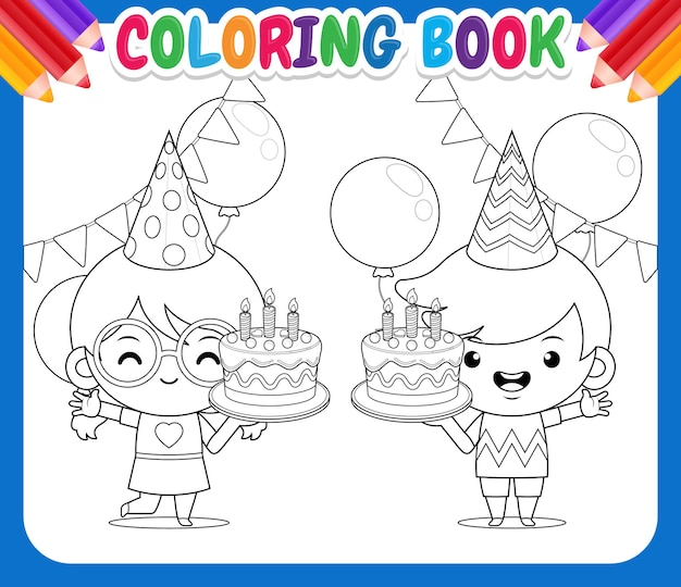 Coloring book for kids children holding birthday cake