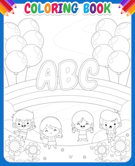 Coloring book for kids. children playing in the garden with rainbow