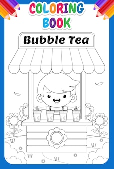 Coloring book for kids.cute boy selling bubble tea