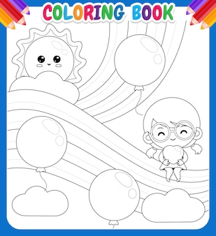 Coloring book for kids. cute girl holding heart sitting on the rainbow