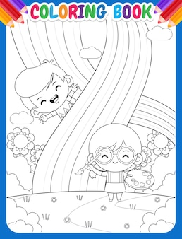 Coloring book for kids. cute girl painting rainbow with happy boy
