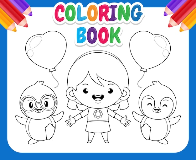 Coloring book for kids. cute girl and penguins