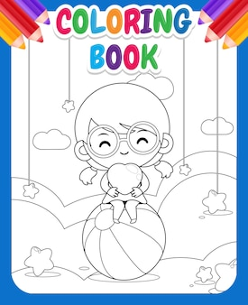 Coloring book for kids. cute happy girl holding heart on cloud