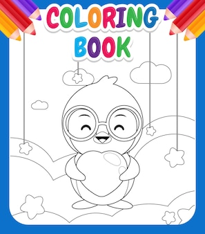 Coloring book for kids. cute happy penguin holding love