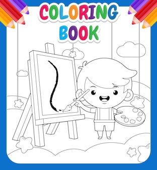 Coloring book for kids cute little boy painting on cloud