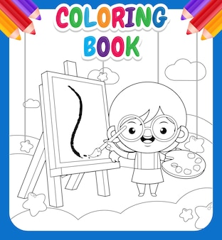 Coloring book for kids. cute little girl painting on cloud