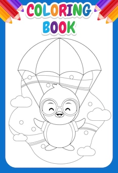 Coloring book for kids. cute penguin flying with parachute