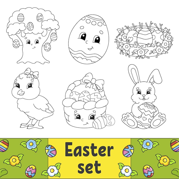 Coloring book for kids easter clipart