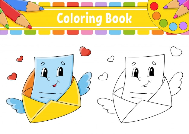 Coloring book for kids. flying open envelope with wings and a letter.