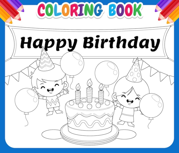 Coloring book for kids happy boy and girl around birthday cake
