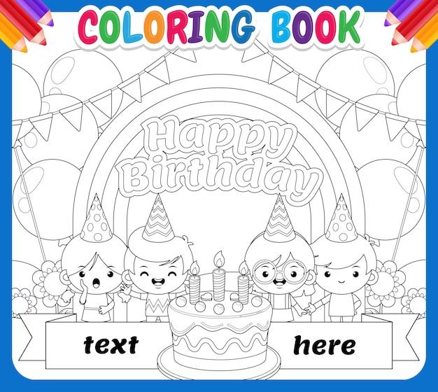 Coloring book for kids. happy children birthday on rainbow sky garden