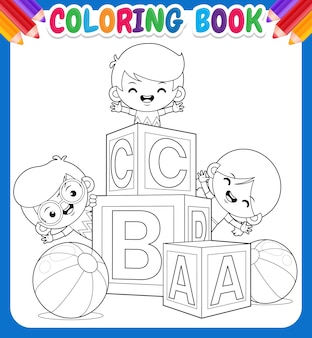 Coloring book for kids. happy children with alphabet block