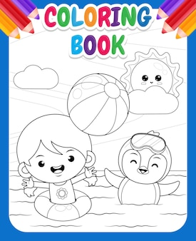 Coloring book for kids happy cute girl and penguin playing beach ball in the sea