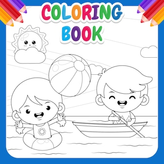 Coloring book for kids. happy cute girl playing beach ball and cute boy riding on boat at the sea