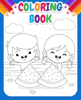 Coloring book for kids happy cute kids and big sliced of watermelon at beach