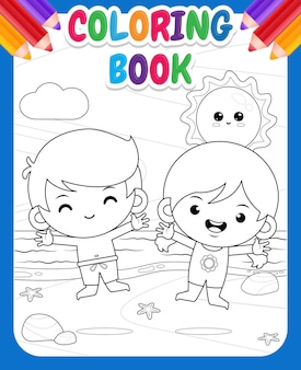 Coloring book for kids happy cute kids jump at beach