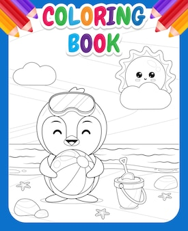 Coloring book for kids happy cute penguin holding beach ball